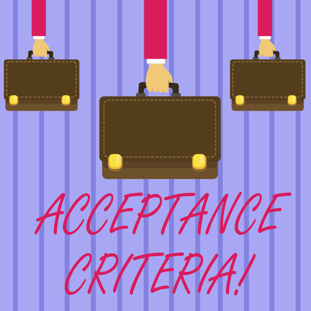 Writing note showing Acceptance Criteria. Business concept for conditions that product satisfy to accepted by user Hands Carrying Brown Briefcase with Running Style and Lock Фото со стока