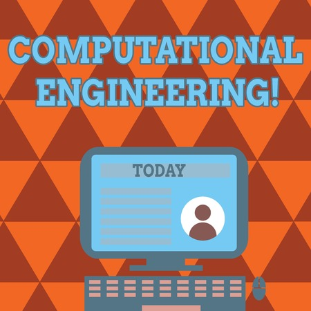 Conceptual hand writing showing Computational Engineering. Concept meaning development and application computational models Computer Mounted on Stand with Online Profile Data on Screen