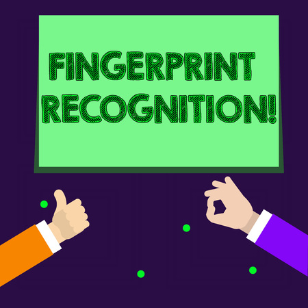 Writing note showing Fingerprint Recognition. Business concept for identifying identity individual based on his finger Two Businessmen Hands Gesturing the Thumbs Up and Okay Sign 版權商用圖片