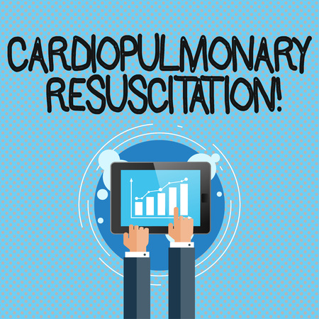 Conceptual hand writing showing Cardiopulmonary Resuscitation. Concept meaning repeated cycles compression chest respiration Businessman Hand Touching to Bar Chart on Smartphone Screen