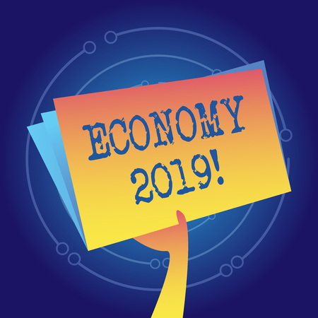 Writing note showing Economy 2019. Business concept for state of country in terms of production and consumption goods Hand Holding Blank Space Color File Folder with Sheet Inside Stock Photo