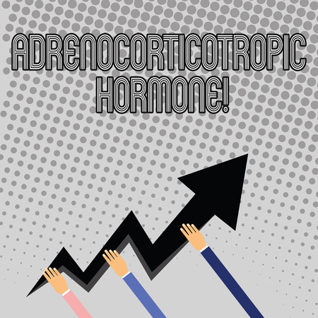 Handwriting text writing Adrenocorticotropic Hormone. Conceptual photo hormone secreted by pituitary gland cortex Three Hands Holding Colorful Zigzag Lightning Arrow Pointing and Going Up