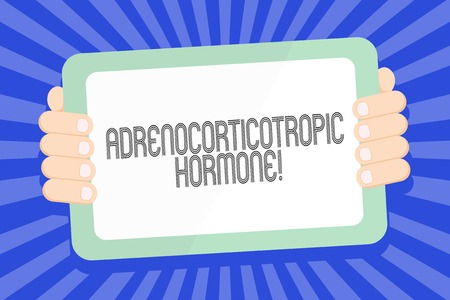Text sign showing Adrenocorticotropic Hormone. Business photo text hormone secreted by pituitary gland cortex Color Tablet Smartphone with Blank Screen Handheld from the Back of Gadget