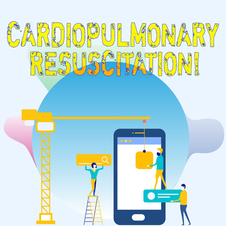 Conceptual hand writing showing Cardiopulmonary Resuscitation. Concept meaning repeated cycles compression chest respiration Staff Working Together Target Goal with SEO Process Icons