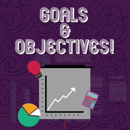 Conceptual hand writing showing Goals And Objectives. Concept meaning define strategies or implementation steps attain aims Investment Icons of Pie and Line Chart with Arrow Going Up