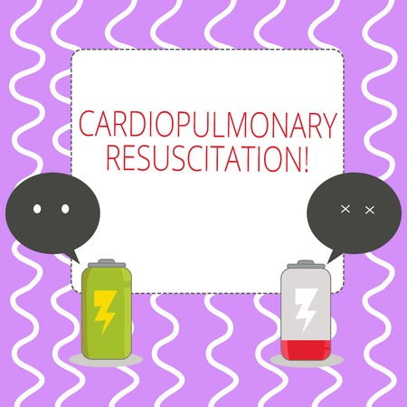 Conceptual hand writing showing Cardiopulmonary Resuscitation. Concept meaning repeated cycles compression chest respiration Fully Charge and Discharge Battery with Emoji Speech Bubble Stock Photo