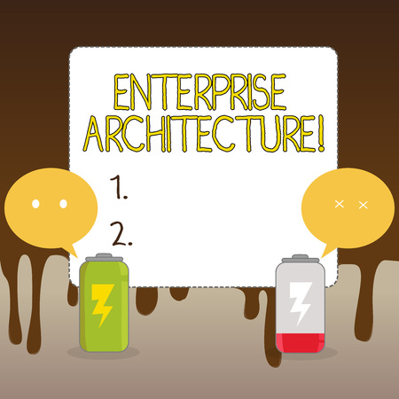 Handwriting text Enterprise Architecture. Conceptual photo practice for conducting enterprise analysis design Fully Charged and Discharged Battery with Two Colorful Emoji Speech Bubble