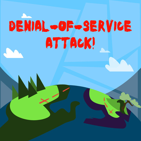Word writing text Denial Of Service Attack. Business photo showcasing Attack meant to shut down a machine or network Mountain View with Marked Hiking Trail and Trekking Tracks for Outdoor Ads