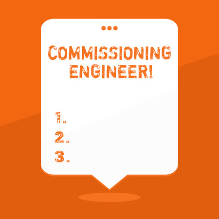 Handwriting text writing Commissioning Engineer. Conceptual photo ensure all aspects of building are properly designed Blank Space White Speech Balloon Floating with Three Punched Holes on Top Stock Photo