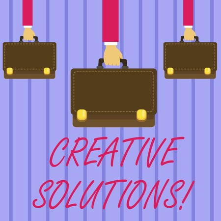 Writing note showing Creative Solutions. Business concept for mental process of creating unique solutions to problem Hands Carrying Brown Briefcase with Running Style and Lock
