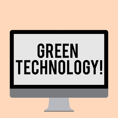 Word writing text Green Technology. Business photo showcasing mitigate reverse effects of huanalysis activity on environment Blank White Computer Monitor WideScreen Mounted on a Stand for Technology
