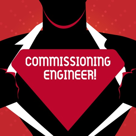 Writing note showing Commissioning Engineer. Business concept for ensure all aspects of building are properly designed Man Opening his Shirt to reveal the Blank Triangular Logo