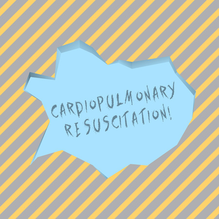 Text sign showing Cardiopulmonary Resuscitation. Business photo text repeated cycles compression chest respiration Blank Pale Blue Speech Bubble in Irregular Cut Edge Shape 3D Style Backdrop