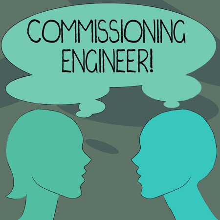 Handwriting text Commissioning Engineer. Conceptual photo ensure all aspects of building are properly designed Silhouette Sideview Profile Image of Man and Woman with Shared Thought Bubble