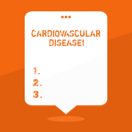 Handwriting text writing Cardiovascular Disease. Conceptual photo conditions involve narrowed or blocked blood vessels Blank Space White Speech Balloon Floating with Three Punched Holes on Top