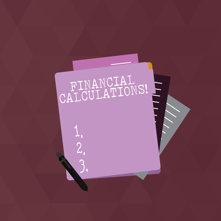 Writing note showing Financial Calculations. Business concept for Analyze the profit that can be generate in investment Lined Paper Stationery Partly into View from Pastel Folder