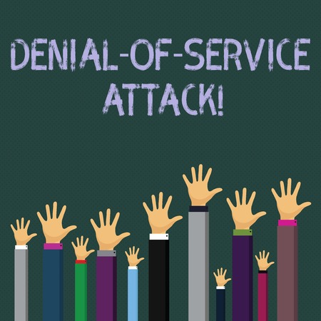 Writing note showing Denial Of Service Attack. Business concept for Attack meant to shut down a machine or network Businessmen Hands Raising Up Above the Head, Palm In Front Stock fotó