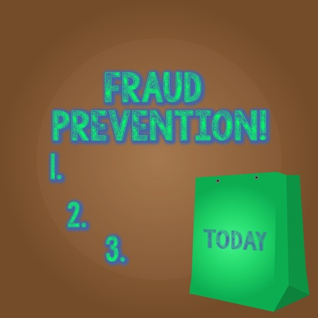 Word writing text Fraud Prevention. Business photo showcasing stop from doing or happening to hinder demonstrating acting Color Gift Bag with Punched Hole but Without Handle on Twotone Blank Space