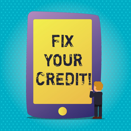 Word writing text Fix Your Credit. Business photo showcasing fixing poor credit standing deteriorated different reasons Businessman Standing and Gesturing Facing Blank Screen Giant Tablet Device