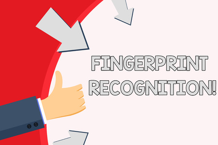 Handwriting text Fingerprint Recognition. Conceptual photo identifying identity individual based on his finger Hand Gesturing Thumbs Up and Holding on Blank Space Round Shape with Arrows Stok Fotoğraf