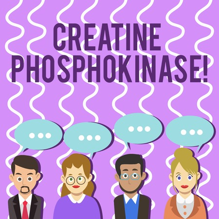 Conceptual hand writing showing Creatine Phosphokinase. Concept meaning protein that aids chemical changes in the body Group of Business People with Speech Bubble with Three Dots