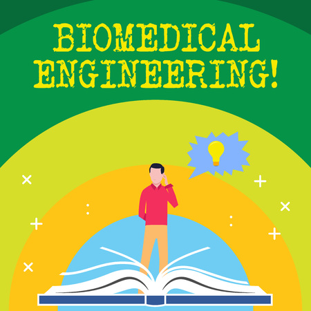 Handwriting text writing Biomedical Engineering. Conceptual photo advances knowledge biology medicine improves health Man Standing Behind Open Book, Hand on Head, Jagged Speech Bubble with Bulb