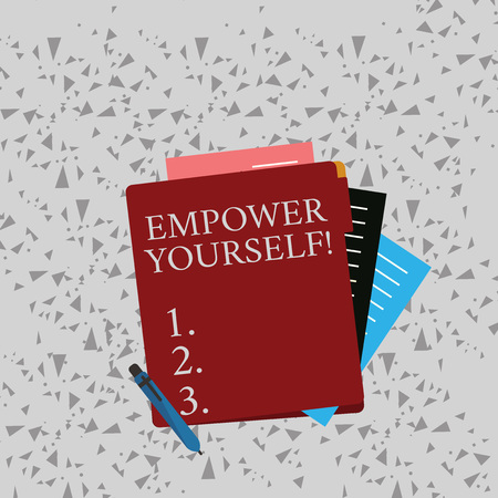 Word writing text Empower Yourself. Business photo showcasing taking control our life setting goals and making choices Colorful Lined Paper Stationery Partly into View from Pastel Blank Folder