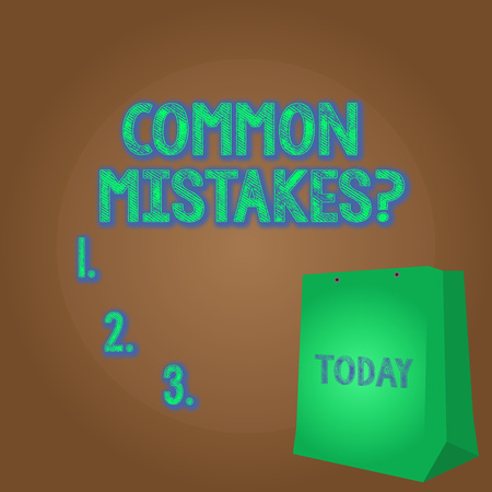 Word writing text Common Mistakes question. Business photo showcasing repeat act or judgement misguided or wrong Color Gift Bag with Punched Hole but Without Handle on Twotone Blank Space