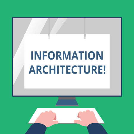 Text sign showing Information Architecture. Business photo text structural design shared information environments Hands on Mockup Keyboard Front of Blank White Monitor with Screen Protector Imagens