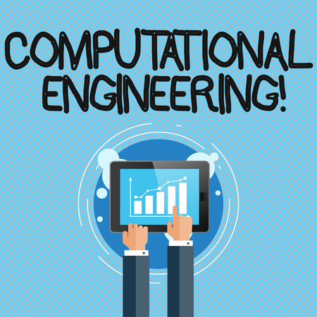 Conceptual hand writing showing Computational Engineering. Concept meaning development and application computational models Businessman Hand Touching to Bar Chart on Smartphone Screen Reklamní fotografie