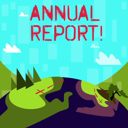 Writing note showing Annual Report. Business concept for includes information on what have become known within year Mountain View with Hiking Trail and Trekking Tracks for Ads