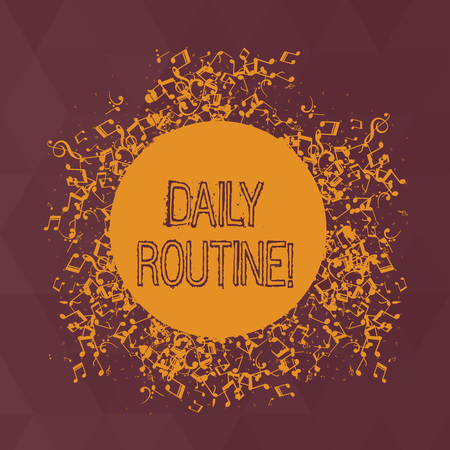 Word writing text Daily Routine. Business photo showcasing customary or regular course of procedure commonplace tasks Disarrayed and Jumbled Musical Notes Icon Surrounding Blank Colorful Circle