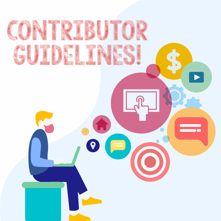 Handwriting text Contributor Guidelines. Conceptual photo demonstrating who writes articles for magazine or newspaper Man Sitting Down with Laptop on his Lap and SEO Driver Icons on Blank Space Archivio Fotografico
