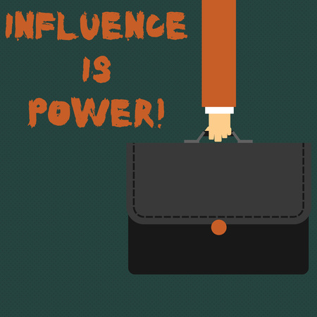 Writing note showing Influence Is Power. Business concept for to have important effect on someone or something Businessman Carrying Colorful Briefcase Portfolio Applique
