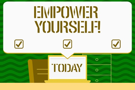 Writing note showing Empower Yourself. Business concept for taking control our life setting goals and making choices Blank Huge Speech Bubble Pointing to the White Laptop Screen