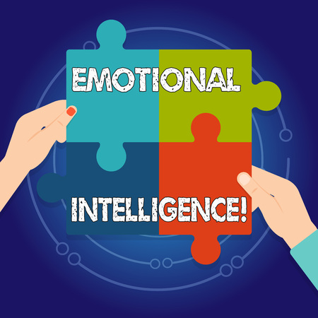 Text sign showing Emotional Intelligence. Business photo text Ability to identify and analysisage own and other emotions Four Blank Multi Color Jigsaw Puzzle Tile Pieces Put Together by Human Hands 版權商用圖片