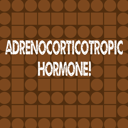 Word writing text Adrenocorticotropic Hormone. Business photo showcasing hormone secreted by pituitary gland cortex Combination of Brown Squares and Circles Forming Concentric Style Pattern