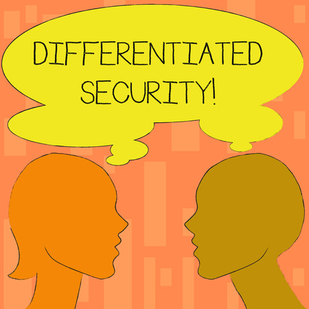 Word writing text Differentiated Security. Business photo showcasing deploys different policies according to identity Silhouette Sideview Profile Image of Man and Woman with Shared Thought Bubble
