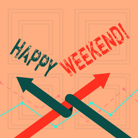 Writing note showing Happy Weekend. Business concept for feelings pleasure usually because something nice has happened Two Arrows One Intertwined to Other Team Up or Competition