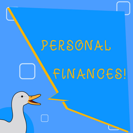 Word writing text Personal Finances. Business photo showcasing analysisagement of money and financial decisions for demonstrating photo of Duck Speaking with Uneven Shape Blank Blue Speech Balloon