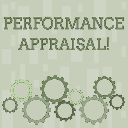 Word writing text Perforanalysisce Appraisal. Business photo showcasing systematic evaluation perforanalysisce of employees Colorful Cog Wheel Gear Engaging, Interlocking and Tesselating Flat Style