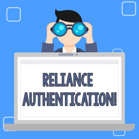 Writing note showing Reliance Authentication. Business concept for part of trust based identity attribution process Man Holding and Looking into Binocular Behind Laptop Screen