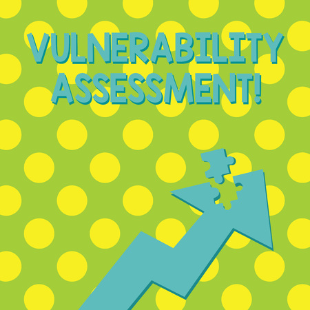 Text sign showing Vulnerability Assessment. Business photo showcasing defining identifying prioritizing vulnerabilities Colorful Arrow Pointing Upward with Detached Part Like Jigsaw Puzzle Piece