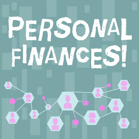 Handwriting text Personal Finances. Conceptual photo analysisagement of money and financial decisions for demonstrating Online Chat Head Icons with Avatar and Connecting Lines for Networking Idea