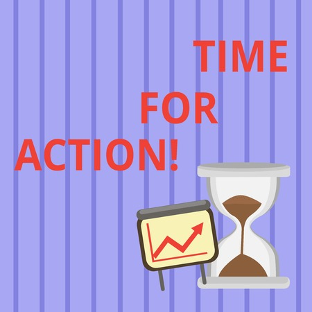 Word writing text Time For Action. Business photo showcasing do something official or concerted achieve aim with problem Successful Growth Chart with Arrow Going Up and Hourglass with Sand Sliding Фото со стока