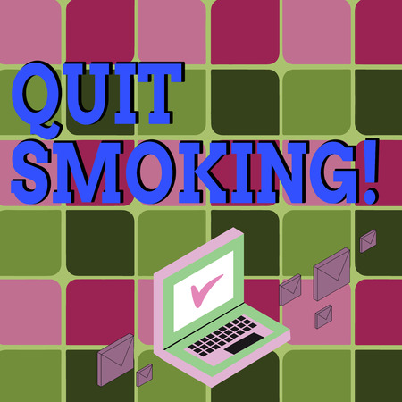 Text sign showing Quit Smoking. Business photo showcasing process of discontinuing tobacco and any other smokers Color Mail Envelopes around Laptop with Check Mark icon on Monitor Screen
