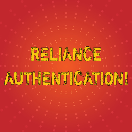 Text sign showing Reliance Authentication. Business photo text part of trust based identity attribution process Sunburst with Blank Center Space and Halftone Dotted Extended Beam Lines