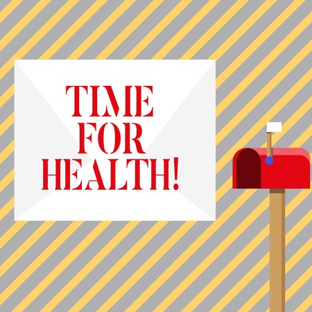 Writing note showing Time For Health. Business concept for moment for physical mental and not merely absence disease White Envelope and Red Mailbox with Small Flag Up Signalling