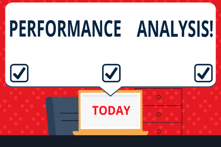 Handwriting text Perforanalysisce Analysis. Conceptual photo analyzing Productivity imrpove Quality input Time Blank Huge Speech Bubble Pointing to White Laptop Screen in Workspace Idea