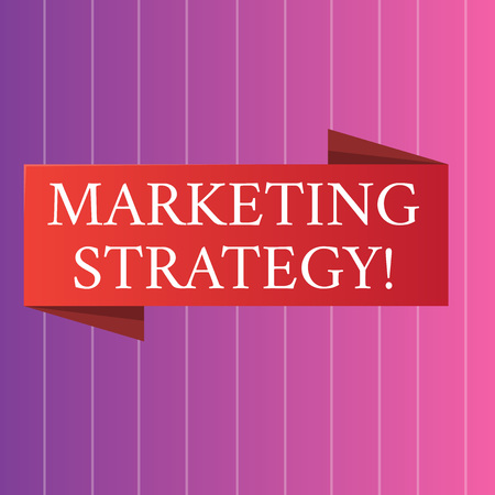 Word writing text Marketing Strategy. Business photo showcasing plan of action promote and sell product or service Blank Folded Color Banner photo on Vertically Striped Two Toned Backdrop